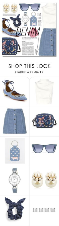 """Jean-ious Accessories"" by miee0105 ❤ liked on Polyvore featuring Aquazzura, Keepsake the Label, Topshop, Valentino, Cath Kidston, Anne Klein, Mawi, L. Erickson and Maison Margiela"