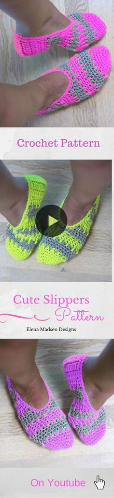 Crochet Slippers Free Pattern (Part Super cute crochet slippers easy to make! :-) Free pattern on Diy Tricot Crochet, Crochet Boots, Cute Crochet, Crochet Crafts, Crochet Clothes, Crotchet, Crochet Stitches, Slippers Crochet, Crochet Beanie