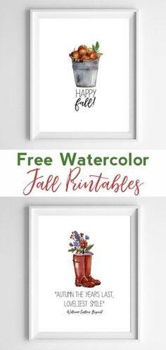 Free Watercolor Printables   fall wall decor   free printable art   fall home decor   watercolor art   free printables