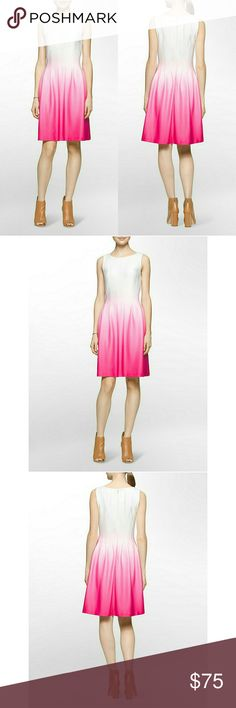 New! Calvin Klein Ombre Pleated Scuba Dress NWT Turn heads at your next social event in this Calvin Klein White Label?ombr??dress. Features a pieced bodice that eases into soft pleats in a shapely knit with?ombr? shading that intensifies at the hem.  ?Brand New With Tags   Seamed?ombr??dress  Seamed bodice with pleats  Round neck  ?Sleeveless  Side-seam pockets  Concealed back zip closure  ?Fully lined  Dry clean. 95% polyester 5% spandex, lining 100% polyester  39 inches from shoulder to…