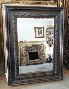 """Large Solid Wood """"38x50"""" Rectangle Beveled Framed Wall Mirror"""