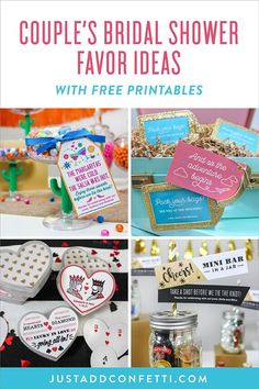 These 5 Couple's Bridal Shower Favor Ideas will inspire you to send your guests home with a unique shower favor to enjoy long after the celebration! Each idea comes with a free printable design! #bridalshowerfavors #bridalshower #couplesshower #freeprintables #showerfavors