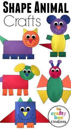 This is a great set of crafts that will help teach your kids about different shapes. They will cut and glue to assemble each craft using construction paper. #artsandcrafts