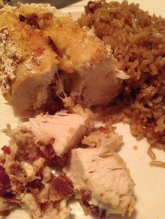 Italian 3 cheese, feta, bacon, and garlic stuffed checked breasts with French onion rice