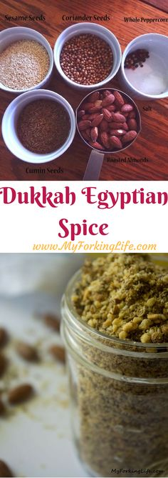 Dukkah Spice Mix, also known as Egyptian Spice, is a flavorful blend of seasoning that can go on meat, fish, and vegetables. Homemade Spices, Homemade Seasonings, Chex Mix, Spice Blends, Spice Mixes, Dukkah Recipe, Egyptian Food, Curry, Chorizo