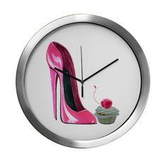 Pink Stiletto Shoe and Cherry Cupcake Modern Wall Clock
