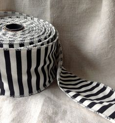 black and white striped cotton wired ribbon by ShyMyrtle on Etsy