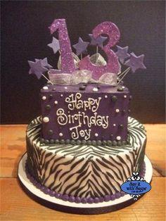 Purple Zebra Fondant Numbers and Stars Birthday Cake