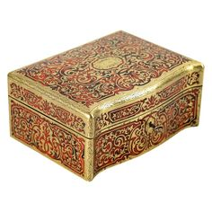 For Sale on - Antique century French boulle marquetry box. The wooden box is decorated with inlaid brass and tortoiseshell. After renovation. Marquetry, Tortoise Shell, Wooden Boxes, French Antiques, 19th Century, Decorative Boxes, Brass, Home Decor, Wood Boxes