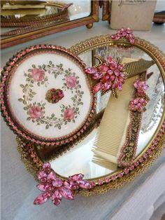 Princess Bejeweled Vanity Set Petite Size-Vintage Pink Jewels - Styled By… Dresser Vanity, Dresser Sets, Vanity Tray, Vanity Set, Vanity Mirrors, Vanity Ideas, Antique Vanity, Vintage Vanity, Vintage Pink