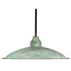 "Large Architects Pendent Lamp  USA  20th Century  This is a large impressive 24"" diameter spun metal pendent lamp. The interior is finished in a mat white with a single bulb. The outside surface has an amazing patina. From the bottom edge to the top of brass fitting is 9 inches. It's finished with a 20 inch pipe and top loop for hanging. We do have a matching pair of these."