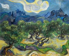 Olive Trees with the Alpilles in the Background by Vincent van Gogh