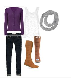 Tonight's Outfit: Purple cardi, lace tank top, grey circle scarf, dark skinnies, TOMS wrap up boots Purple Fall Outfits, Online Shopping Shoes, Casual Outfits, Fashion Outfits, Circle Scarf, Lace Tank, Winter Looks, Brown Boots, Toms