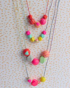 The bright colors, the fun string, these necklaces and bracelets would be perfect for any Valentine's Day party!