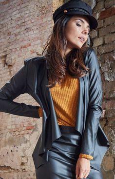 Awama Czarny żakiet eco-skóra A340 Leather Skirt, Leather Jacket, Skirts, Model, Jackets, Fashion, Studded Leather Jacket, Down Jackets, Moda