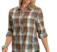 Red Ranch Long Sleeve Plaid with Embroidery Women's Shirt - Sheplers