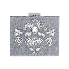 Skinnydip Glitter Bling Clutch Bag, Silver (€50) ❤ liked on Polyvore featuring bags, handbags, clutches, special occasion clutches, hand bags, kiss-lock handbags, evening hand bags and silver evening purse