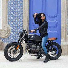 BMW biker girl.