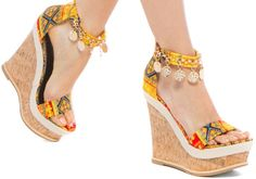 """The Coin Embellished Printed Fabric """"Echo"""" Cork Wedges"""