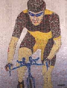 Mosaics made from recycled aluminum cans by artist Jeff Ivanhoe