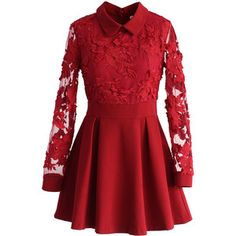 Chicwish Vivid Flower Mesh Lace Skater Dress in Red