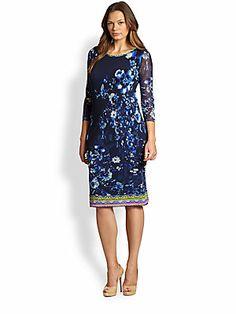 Fuzzi,+Sizes+14-24 Tulle+Printed+Dress
