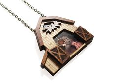 Charlotte's Web Necklace. Natural wood and 3D by LaliblueShop