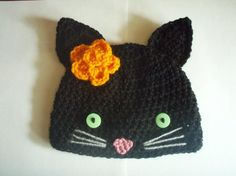 Black Cat Hat for a baby.  INSPIRATION Only - No Pattern  Should be easy enough to figure out for the persistent crocheter.