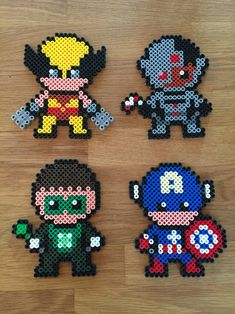 Wolverine, Cyborg, Green Lantern, Captain America - superheroes hama beads perler Required Supplies: Perler Bead Kit Ironing Board Masking Tape (found a tip that says this will help beads from going flying) Perler Bead Templates, Diy Perler Beads, Pearler Bead Patterns, Perler Bead Art, Perler Patterns, Art Perle, Hama Beads Design, Peler Beads, Iron Beads