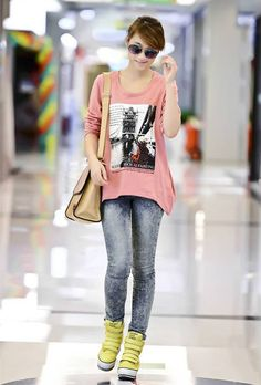 Hot Girl Long Sleeve Printed Loose Sweatshirt Pink