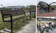 Complete terreininrichting met straatmeubilair van Falco: Fietsoverkappingen, fietsenrekken, zitbanken en klapbare afzetpalen zijn geplaatst bij het OZG ziekenhuis in Scheemda
