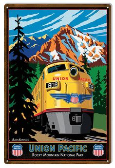 Union Pacific Rocky Mountain Railroad Sign, Aged Style Aluminum Metal Sign, USA Made Vintage Style Retro Home Decor Garage Art by HomeDecorGarageArt on Etsy Train Posters, Railway Posters, National Park Posters, National Parks, Union Pacific Railroad, Train Art, Old Trains, Art Deco Posters, Train Pictures