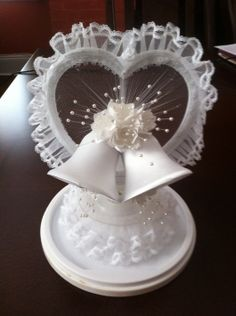 "Wedding Bell Decorations Love"" Monogram Silhouette Rhinestone Wedding Cake Topper"