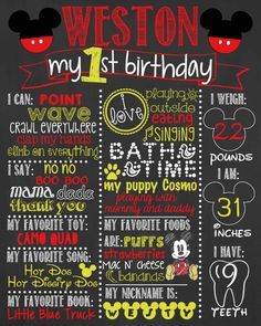Mickey Mouse Birthday Chalkboard / Boy Birthday by LetsGetChalky