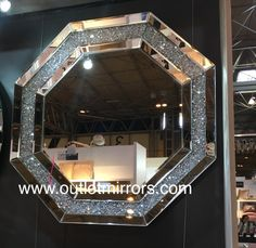 Diamond Crush Sparkle Hex Shaped Wall Mirror x in stock Mirrored Furniture, Luxury Furniture, Bathroom Red, Bathrooms, Frameless Mirror, Floor Mirror, Mirror Mirror, Crystal Wall, Can Lights
