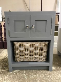 How gorgeous is the painted Bathroom Unit? It's painted in Farrow and Ball's Plummet and features a Wicker Basket. Get in contact with us for a quote today! Pine Furniture, Solid Wood Furniture, Bathroom Sink Units, Crafts Beautiful, Vanity Units, Furniture Companies, Wicker Baskets, Plank, Bespoke