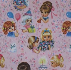 Vintage Juvenile Birthday Gift Wrap Wrapping Paper - 1960s GIRLS Flowers Kittens. $5.25, via Etsy.
