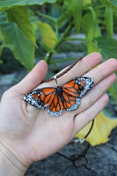 Summer jewelry polymer clay pendant butterfly pendant 925