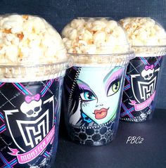 Popcorn Boxes, Monster High Birthday Party Popcorn Boxes with dome lids