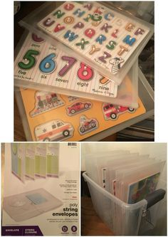 Puzzle storage!! Best way to store kids puzzles! Buy some Legal size poly expandable envelopes. Remove the string and replace with Velcro circles. Place in a bin or on a shelf. My rule is one out at a time. The envelopes are easy enough for my two year old to open and clean up himself.