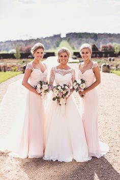 Naomi Neoh Real Bride Naomi in our classic Fleur dress in blush pink pictured with her bridemaids.  Credit: Anna Clarke Photography www.naomineoh.com