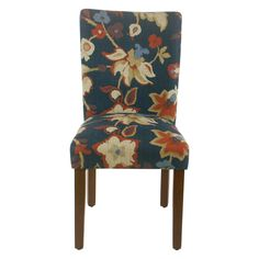 Homepop Set of 2 Classic Parsons Dining Chair Navy Floral Patterned Dining Chairs, Parsons Dining Chairs, Upholstered Dining Chairs, Dining Chair Set, Dining Room, Transitional Dining Chairs, Furniture Legs, Chair Design, Upholstery