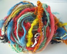 "MyMixMix on Etsy. ""Balloon Festival"" hand-spun mixed fiber earth spun thick & thin art yarn."
