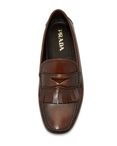 Prada Varnished Leather Kiltie Driver W/Fringe, Brown Formal Loafers, Prada Shoes, Men's Accessories, Loafers Men, Neiman Marcus, Me Too Shoes, Oxford Shoes, Dress Shoes, Menswear