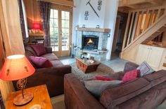Cosy living room with log burning fire