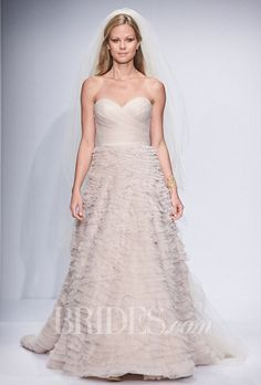 """Brides: Watters - Spring 2014. Style 5098B, """"Davia"""" strapless pleated lace and organza A-line wedding dress with a sweetheart neckline, Watters"""