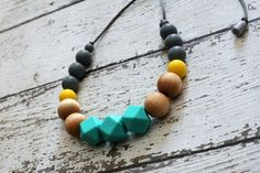 Geometric Silicone Teething Necklace with Wood Beads -Turquoise, Yellow - Organic Beeswax and Olive Oil Treated Beads