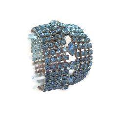Wide Baby Blue Rhinestone Bracelet Cuff by TwentiethCenturyRose