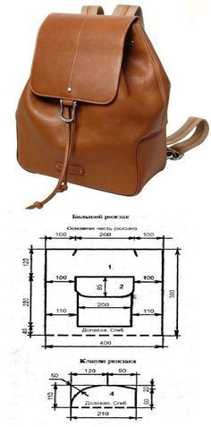 ideas for sewing bags leather purse patterns Leather Diy Crafts, Leather Projects, Leather Craft, Handmade Leather, Vintage Leather, Leather Backpack Pattern, Leather Pattern, Crea Cuir, Bag Sewing