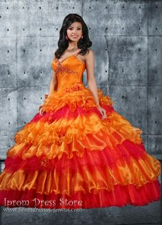 Orange Ball Gown Sweetheart Neckline Floor length Sleeveless Organza & Tulle Quinceanera Dress with Beading